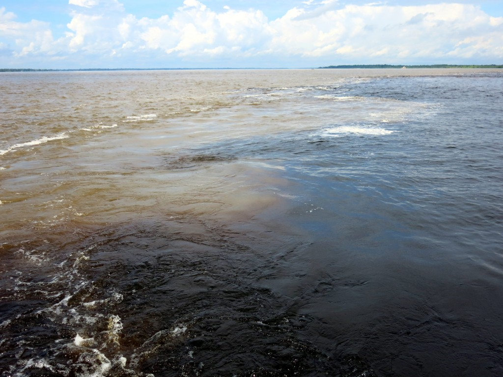 The meeting of the waters of the Amazon and the Rio Negro