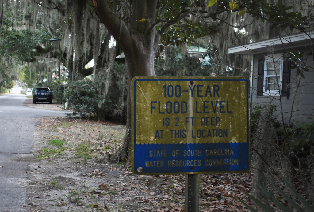 A flood level sign in a neighborhood of Beaufort called the Point