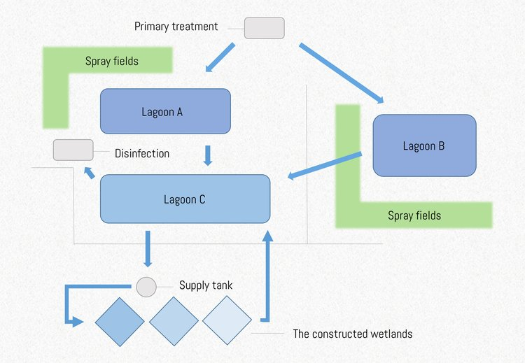 Diagram outlining the waste processing system at the Sewanee Utility District. (D. McGrath, 2017)